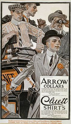 U.S. Arrow Collars Ad, 1916 //  by  Joseph Christian Leyendecker