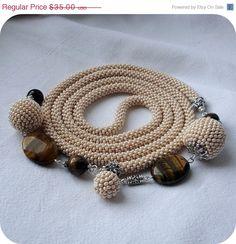 Beige bead crochet rope necklace lariat with tiger eye- beaded rope belt- handmade jewellery- beadwork