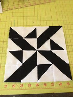 knit 'n lit: Modern Half-Square Triangle Quilt-a-Long Block 43