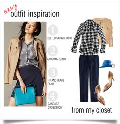 A Bigger Closet JCrew Style Blog - Outfits and Reviews: Easy Outfit Inspiration - Gingham Shirt, Blue, Neutral