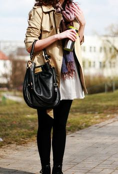 Marc By Marc Jacobs Hillier Hobo Bag, Massimo Dutti Trench Coat, Zara Skirt, Topshop Leggings, Converse All Star Light Ox