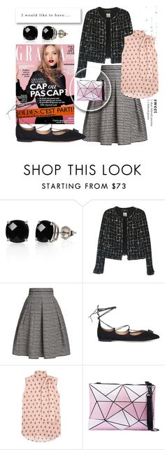 """""""How to style my Chanel knockoff: part 3"""" by mamezirro ❤ liked on Polyvore featuring Belk & Co., Chanel, Rumour London, Salvatore Ferragamo, Valentino, Pink, skirt, blackandwhite, CasualChic and fallgetaway"""
