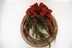Christmas lariat rope wreath Woodland by DesignsbyTinaCollins Christmas Wreaths To Make, How To Make Wreaths, Christmas Ideas, Christmas Decorations, Holiday Decor, Xmas, Rope Crafts, Wreath Crafts, Wreath Ideas