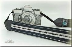 Kameragurt Kameraband Stacheldraht schwarz & grau von BlinniFashion