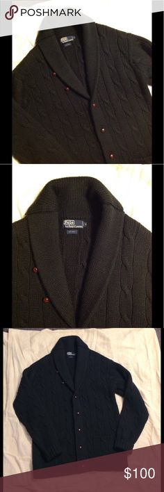 RL Polo Hunt Green Cable Grampa Wool Shawl Collar Very nice Ralph Lauren Sweater. Shawl Collar Grampa Style. Wooden buttons - made of wool in size Medium. Color is a dark hunter green. Nice condition Polo by Ralph Lauren Sweaters Cardigan