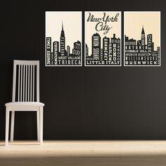 NYC Skyline Triptych