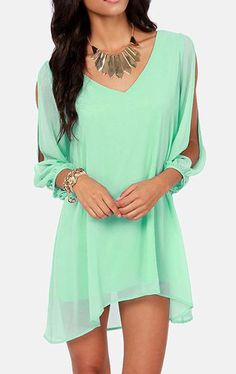 Chic V Neck Long Sleeve Green Chiffon Dress