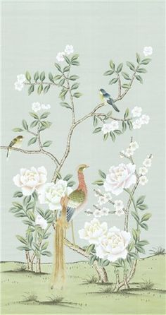 Kew Blue Silk 3 - Chinoiseries CHM-KBS3 : The Decorator Archives