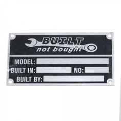 Built Not Bought VIN Plate | johnnylawmotors.com