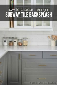How to choose the perfect subway tile backsplash for your kitchen. This kitchen features white subway tile, gray cabinets, and gold hardware. - via the sweetest digs by marjorie