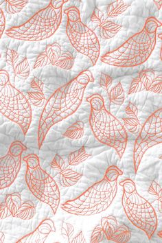 """Anthropologie Aviary Coverlet 86""""x86"""", Quilted White & Gray w/Neon Coral Birds #Anthropologie"""