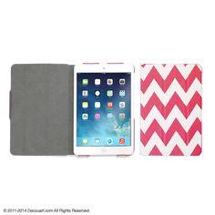 Chevron iPad mini case, ipad mini sleeve, ipad mini cover, ipad mini folio, red white raspberry on Etsy, $23.99