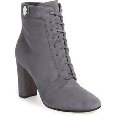Ivanka Trump 'Regal' Lace Up Boot (Women) ($75) ❤ liked on Polyvore featuring shoes, boots, ankle booties, ankle boots, grey suede, grey booties, suede ankle boots, high heel booties and lace up booties