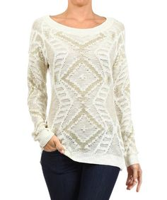 Another great find on #zulily! White Diamond Scoop Neck Sweater by BellaBerry #zulilyfinds