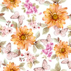 Milon Roativa Orange Flowers, Floral Flowers, Flower Wall, Flower Prints, Love Pink Wallpaper, Collage Design, Decoupage Paper, Pretty Wallpapers, Flower Backgrounds