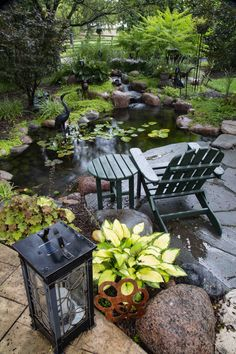 Small Backyard Patio, Backyard Stream, Patio Pond, Small Backyard Design, Diy Pond, Pond Landscaping, Backyard Water Feature, Ponds Backyard, Backyard Ideas
