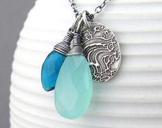 Long Silver Necklace Pendant Blue Gemstone by JenniferCasady