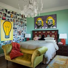 Eclectic Bedroom Ideas for Women Used Green Wall and Wooden Flooring Combined with Yellow Leather Classic Sofa Furniture Funky Bedroom, Retro Bedrooms, Shabby Chic Bedrooms, Modern Bedroom, Bedroom Wall, Bedroom Decor, Bedroom Ideas, Teen Bedroom, Bedroom Designs