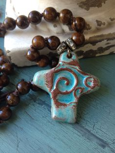 BoHo glam pottery pendant turquoise cross brown by MarleeLovesRoxy, $85.00