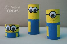 "Minions en rouleaux de papier toilette  La boîte à créas - pour enfin répondre à la question ""On fait quoi aujourd'hui?"" Diy For Kids, Crafts For Kids, Mini Craft, School Projects, Apple Tv, Kids And Parenting, Halloween Crafts, Activities For Kids, Remote"