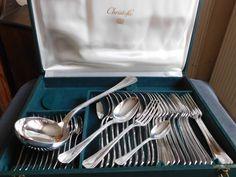 Christofle ménagère métal argenté modèle Palme art déco dans son écrin Christofle d'origine de la boutique BROCandBROL sur Etsy