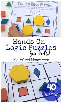 This awesome set of 40 hands on logic puzzles is a great way to get kids thinking and using their logical reasoning skills! Includes 4 different variations in color and black and white! #handson #math #mathactivities #logic #elementarymath Math Activities For Kids, Math For Kids, Puzzles For Kids, Math Resources, Math Games, Logic Games, Simple Math, Easy Math, Homeschool Math