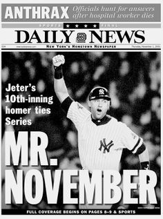 As Derek Jeter passes Lou Gehrig as the Yankees all-time hit king, the News looks back at some of the most memorable back pages featuring the Yankees captain. Yankees Baby, Damn Yankees, New York Yankees Baseball, Yankees Team, Derek Jeter, First World Series, Baseball Equipment, Baseball Stuff, Baseball Quotes