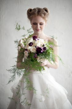 A gorgeous winter bouquet with delicate ferns