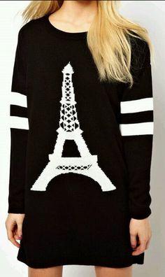 Eiffel Tower Pattern Striped Sweater