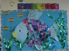 A super Rainbow Fish Rules classroom display photo contribution. Great ideas for your classroom! Rainbow Fish Bulletin Board, Fish Bulletin Boards, Preschool Bulletin Boards, School Displays, Classroom Displays, Classroom Themes, Classroom Rules, Eyfs Classroom, Rainbow Fish Crafts