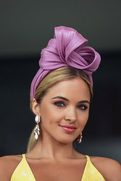 Turn heads on race day with the Rafaella lilac turban. This style is made with love in Melbourne with shiny banana fiber. A style fit for a fashion conscious race goer who wants to make a statement. Sombreros Fascinator, Fascinator Headband, Turban Headbands, Fascinators, Headpieces, Turbans, Race Day Outfits, Races Fashion, Millinery Hats