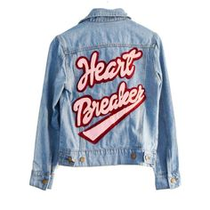 HEARTBREAKER DENIM JACKET found on Polyvore featuring outerwear, jackets, patch jacket, blue denim jacket, jean jacket, blue jackets and denim jacket