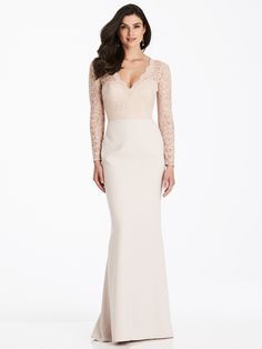 The Dessy Collection Style 3014 is a great option! Find Dessy bridesmaid dresses at Brideside. Dessy Bridesmaid Dresses, Junior Bridesmaid Dresses, Bride Dresses, Crepe Dress, Lace Dress, Lace Bodice, Dress Long, Lace Sleeves, Trumpet Gown
