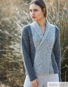 Ravelry: Jacket pattern by Fil Katia Knit Vest Pattern, Sweater Knitting Patterns, Dress Sewing Patterns, Knitting Designs, Crochet Woman, Knit Crochet, Casual Sweaters, Madame, Crochet Clothes