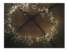 Patio umbrella lights in circle. Could use a hula hoop?