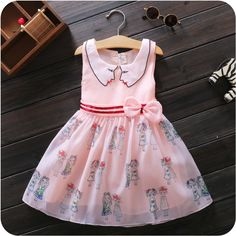 $7.37 2016 Baby small Girls Kids printed bow Dress fashion children princess Dresses A Line kids sleeveless fashion Clothes age12M-4T  http://www.dhgate.com/store/product/2016-baby-small-girls-kids-printed-bow-dress/380412722.html