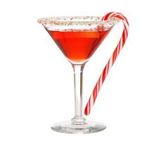 Candy Cane Martini with Iceberg Vodka and Peppermint Schnapps Party Drinks, Cocktail Drinks, Fun Drinks, Yummy Drinks, Healthy Drinks, Cocktail Recipes, Alcoholic Drinks, Cocktail Glass, Cocktail Shaker