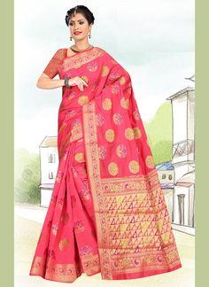 Weaving Hot Pink Art Silk Casual Saree Work Casual, Casual Wear, Celebrity Gowns, Net Saree, Casual Saree, Latest Sarees, Looks Chic, Traditional Sarees, Pink Art