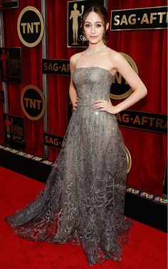 Emmy Rossum in a Swarovski crystal embroidered Giorgio Armani Prive top and full gold skirt at the 2015 SAG Awards