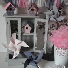 Banderole guirlande de fanions rose poudr gris clair for Chambre fille rose et gris