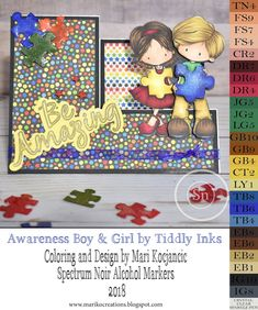 Mari Ko Creations  Autism Awareness Card featuring Tiddly Inks images colored with Spectrum Noir Alcohol Markers