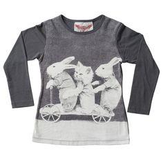 LA FONTAINE    Paper Wings Bunny/Kitten Grey Long Sleeve Tee
