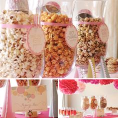 "For a soon-to-be mom waiting to ""pop!""- some popcorn decorated in theme colored ribbon (pink candy popcorn would be ideal for a baby girl!)"