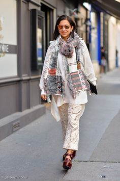 ea482fb06054 W Mag's Karla Martinez looked impeccably stylish in a great Celine scarf  outside the Comme des