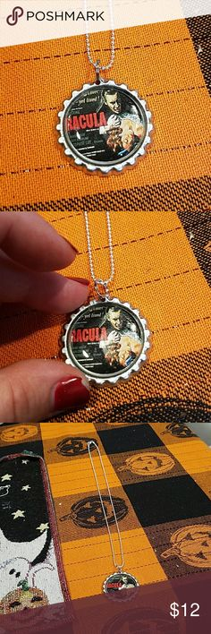 New handmade Halloween horror bottle cap necklace New handmade Halloween horror necklace horror classic Dracula  (handmade by me) ball chain has lobster clasp and is silver plated Jewelry Necklaces