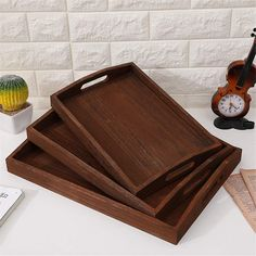 Wood Tray With HandleNesting Multipurpose Large Medium and Small Decorative Torched Brown Breakfast Tray For Breakfast Coffee Table Serving Trays With Handles, Wooden Serving Trays, Serving Platters, Personalized Cheese Board, Meat Fruit, Breakfast Tray, Wood Cutting Boards, Wood Tray, Charcuterie Board