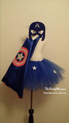 Captain America Tutu Skirt with Cape and Mask