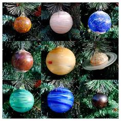 Blown Glass Solar System Ornament Set, 9 Planets with Sun! Glass Sculpture Org