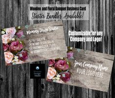 Rose Bouquet on Wood Business Card - HO Approved Compliant Fonts/Colors Available - Bundles - MLM Direct Sales Any Company - Bakery Florist Wood Business Cards, Elegant Business Cards, Lularoe Business Cards, Printing Services, Online Printing, Lipsense Business Cards, Jamberry Business, Photography Business Cards, Standard Business Card Size