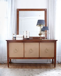 Haussmann Large Sideboard with Leather Trims, Style Français, Large Sideboard, Buffet, Cabinet, Storage, Furniture, Home Decor, Leather, Accessories
